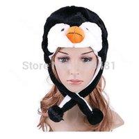 niedlicher pinguin plüsch großhandel-Großhandels- Mädchen 1PC Karikatur-Tierpinguin-Plüsch-warmer Hut-Frauen-nettes Maskottchen-Plüsch-warme Kappen-Hut-Wärmer neu