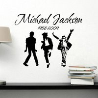 Wholesale Large Vinyl Music Wall Stickers - 2017 New Removable Vinyl Wall Stickers Michael Jackson MJ Music Dancing Art Wall Stickers Home Decor Room Decal With Tracking