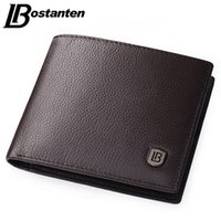Wholesale Soft Genuine Leather Wallet - Bostanten Coffee Men Wallets Famous Brand Genuine Leather Male Money Purses New Classic Soild Pattern Designer Soft ID Card Case
