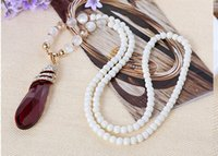 Wholesale Acrylic Drop Pendants Beads - Water Drop big crystal pendant trendy red blue long necklaces party fashion wedding beads long jewelry for women free shipping