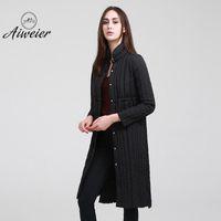 Wholesale Thin Down Coats For Women - [Aiweier]Women's Down Jacket Long Down Coats Women Parkas Single Breasted Thin Korea Style Winter Warm Jackets For Ladies