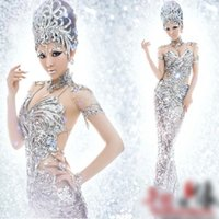 Wholesale sexy police women - Silver Sequin Mermaid Cosplay Costumes Halloween Party Costume Sexy Fashion Theme Costumes 2015 New Style Cheap