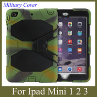 Wholesale Military Duty Hard Case - Tablet PC Hybrid Hard Cover for iPad Mini mini 2 with stand shock dust proof military duty style case colorful tablet cover PCC003