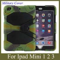 гибридная подставка для ipad оптовых-Tablet PC Hybrid Hard Cover для iPad Mini / mini 2 с подставкой shock dust proof военный долг стиль case красочные tablet cover PCC003