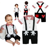 Wholesale Cool Baby Gentleman - Free shippping Cool baby clothing Baby rompers Mickey palm design Gentleman modeling Short sleeve romper 3pcs lot