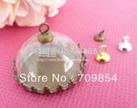 Collier Fashion DIY 25mm Half Round Clear Glass dome Vial bouteille en verre + Bac + top connecteur / 50pcs