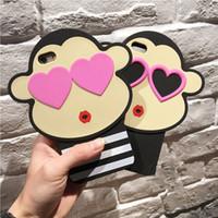 Wholesale Anti Dust Heart - Fashion cute 3D Cartoon Stripe Crayon Korea Monkey Love Heart Eyes Soft Silicon Case for For Apple ipad 2 3 4 ipad 5 6 ipad mini 1 2 3