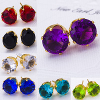 Wholesale Crystal Studded - Stud Earrings Wholesale Fashion Round Favorite Design 18 K Gold Plated Studded Candy Crystals CZ Diamond Stud Earring For Women