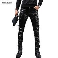 pantalones de cuero de la motocicleta al por mayor-Al por mayor-MORUANCLE nuevo invierno para hombre Skinny biker pantalones de cuero de moda de cuero de imitación de la motocicleta pantalones para hombre Stage Club Wear