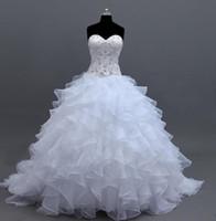 Wholesale romantic corset wedding dresses online - 2016 New Organza Ball Gown Wedding Dresses Handmade Rhinestones Ruffles Bridal Gowns Corset Custom Made Romantic Stunning Sweetheart Fashion