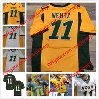 Wholesale North Men - Custom NDSU Bison College Football #11 Carson Wentz Yellow Green White 12 Stick 16 Urzendowski Stitched North Dakota State Men Jerseys S-3XL