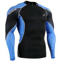 Wholesale Mens Long Running Shirt - Mens Long Sleeve Top Jerseys Fitness Skin Tight Shirts Running GYM MMA Compression Base Layer Outdoor Sports Shirts SJ013
