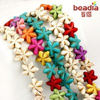 """Wholesale Dyed Turquoise Beads - Wholesale-Hot selling Mixed Synthetic Howlite Turquoise Starfish Loose Beads Dyed 15mm 20mm Pick Size 15""""Diy Bracelet Necklace For Jewelry"""