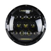 Wholesale car led headlamps online - 75W quot Round LED Car Headlight Bulb Headlamp Light Lamp Replacement Refit Accessory for Jeep Wrangler Haley Davidson Moto