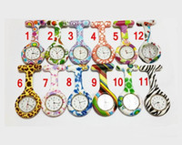 Wholesale Brooch Watches - NEW Silicon Nurse Pocket Watch Candy Colors Zebra Leopard Prints Soft band brooch Nurse Watch 11 patterns Hot Sale