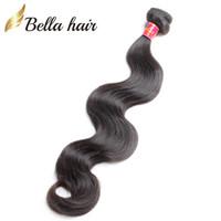 cambodian insan saç örgüsü toptan satış-Bella Hair® 8A BrazilianHair Boyanabilir Doğal Renk Bakire Saç Demetleri Perulu Malezya Hint Kamboçyalı Vücut Dalga İnsan Saç Örgüleri