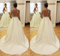 Wholesale Sexy Hochzeitskleid - Latest Design V-neck Arabic A-line Wedding Dresses Backless Satin Beaded Bridal Wedding Gowns Hochzeitskleid Robe De Mariee