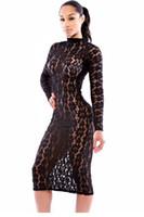 ingrosso abito mini vestito spandex-Abito midi girocollo in pizzo nero trasparente LC6862 FG1511