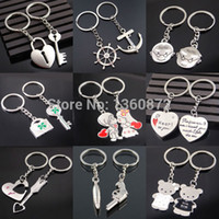 Wholesale Couple Birthday - Wholesale-One Pair New Couple I LOVE YOU Heart Keychain Ring Keyring Key Chain Lover Romantic Creative Birthday Gift chaveiros FC400