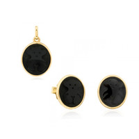 Wholesale Golden Bear Set - Stainless steel black bear Agate Oval Pendant Earrings Set, Europe and the United States wind bear suite, two color factory direct sales