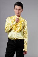 Wholesale Tuxedo Gorgeous Suits - 2015 new gold Mens Wedding Shirts Gorgeous Tuxedos Shirts prom Men suits Groomsmen shirt Polo long sleeve ruffles Men's Marriage shirts