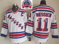 Wholesale 1994 New York Rangers - Factory Outlet, CHEAP 1994 STANLEY CUP CHAMPIONSHIP VINTAGE NEW YORK RANGERS #11 MARK MESSIER WHITE THROWBACK STITCHED MENS ICE HOCKEY JERSE