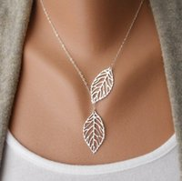Wholesale multi layer long necklaces - Fashion Jewelry Vintage Bohemian Necklace Leaves Multi Layer Necklace Gold Silver Bohemia Charm Long Necklace Chain Wedding jewelry