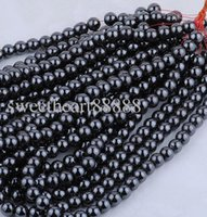 Wholesale Gemstones Beads 6mm - MIC New 6mm 300pc Black Natural Jet Hematite Gemstone Round Ball Loose Beads Finding Beads Jewelry DIY