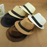 Wholesale fedora sale - Wholesale-Hot Sale summer hat women 2015 beach Straw panama sun hats for men,Trendy Unisex Fedora Trilby Gangster Cap Jazz Hats