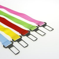 Wholesale Dog Belt Leather Collars - 100pcs 7 color Adjustable pet dog car seat belt pet safety LEADS Leash Clip