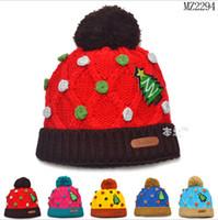 ücretsiz bebek başlık tasarımı toptan satış-Perakende Unisex Bebek Çocuk Kış Örme Şapka Noel Ağacı Tasarım Çocuk Aksesuarları Ücretsiz Nakliye Caps 1 ADET
