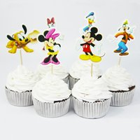Wholesale birthday cake decorating supplies - New Arrival Cute MK Mouse Cake Decorating Tools Fruits Cupcake Inserted Card Stands For Kids Birthday and Xmas Decoration Supplies