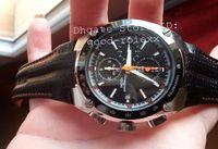 Wholesale Mens Watch Alarm - New Mens Japan Quartz Chronograph Watch Men Black Dial Date Sportura Alarm Watches Sport Leather Chrono SNAA95 P2 Tachymetre Wristwatches
