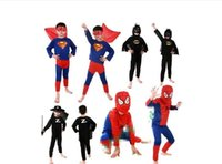 Wholesale Stars Baby Clothing - 5 color Halloween costume party Spiderman clothing clothes Kits Kids BABY long sleeve superhero costume cosplay set