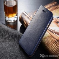 Wholesale Mobile Phone Holster Leather - Musubo Luxury Genuine Leather Mobile Phone Case For 7 iPhone 6s Plus & 5 SE Wallet Cover Case With Card Slot Flip Holster For Galaxy S7 Edge