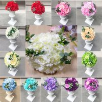 Wholesale purple led lights online - 12 inch to16 inch Artificial Rose Hydrangea Kissing Ball Wedding Road Cited Flower Roman Column Lead Bouquet T station Decoration Supplies