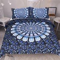 Wholesale Peacock Feathers Bedding - Hot Sale Blue Peacock Feathers Home Textile 3pcs Bedding Set Quilt Cover 100% Polyester Material(Twin Full Queen King Size for choice)