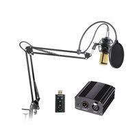 micrófono cardioide al por mayor-Micrófono de condensador profesional BM-800 BM 800 Cardioid Pro Audio Studio Grabación vocal Micrófono + 48 v phantom power + tarjeta de sonido USB