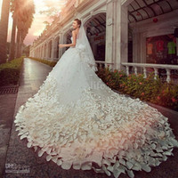 Wholesale Cathedral Tier Veils - 2015 Newest Wedding Dresses Sweetheart Crystals Beads Appliques Flowers A Line Cathedral Train Luxury Princess Cheap Bridal Gowns with Veil