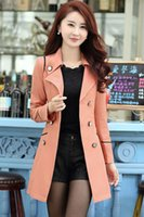 Wholesale Cotton Belts For Sale - online wholesale clothing women coats 05 winter trench coat (have Belt) Long section Pink Double-breasted Polyester cheap for sale