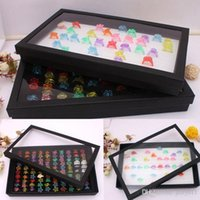 Wholesale Leather Rings Box - 100 Slot Rings Organizer Stud Earrings Show Box Jewelry Packaging Display Case Holder A03-1