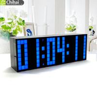 led temporizadores de cuenta regresiva al por mayor-Calendario de la temperatura de la cuenta descendiente de Digitaces grande jumbo LED Reloj de escritorio de la mesa despertador del reloj de Digitaces del mundo