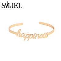 Wholesale Happiness Bangle - Wholesale- SMJEL New Fashion Love Simple Happiness Letter Bracelets Bangles for Women Open Cuff Bangle Femme Party Wedding Gift G057