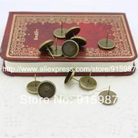 Wholesale Cabochon Earring Bases - Wholesale-50pcs lot Fashion Vintage Adjustable Stud earrings Bases Blanks 12mm Antique Bronze Cabochon Stud earrings A2199