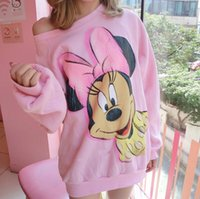 Wholesale Sweater Minnie - New Pink mickey Minnie mouse sweater,women cartoon print .cute autumn full Sleeve round Neck top Sweater