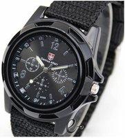 тканевые наручные часы оптовых-Оптовая продажа-2014 новые мужские спортивные часы аналоговые часы сплава циферблат 4 цвета часы ткань ремешок горячие продажа повседневная наручные часы