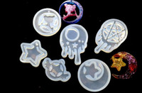 Wholesale vinyl epoxy - 6pcs DIY Silicone mold Epoxy wings translucent silicone rubber mould crystal uv moon Sailor Moon Star Pendant waterlines decor