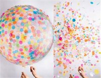 Wholesale Circular Decoration - 36 inch circular transparent paper balloon big color sequins latex balloon Kids Toys Birthday Party Wedding Decorations F1027