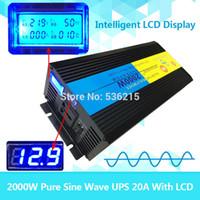 12v inverter reine welle großhandel-Wholesale-LCD-Spannungsanzeige reine Sinuswelle 2000W 4000W (Spitze) 12V bis 220V 230V 240V Wechselrichter + Ladegerät UPS, leise und schnell aufladen
