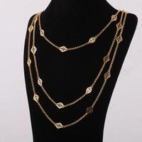 colares de latão banhado venda por atacado-Top marca material de bronze ornamento oco pingentes em três camadas de ouro e prata banhado a comprimento do colar 68 cm / 77 cm / 88 cm para mulheres jóias